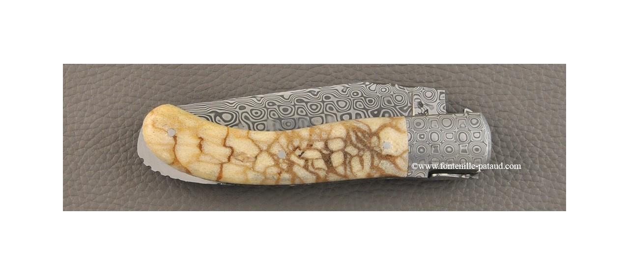 Laguiole Knife Sport Damascus Range Tiger coral Delicate file work