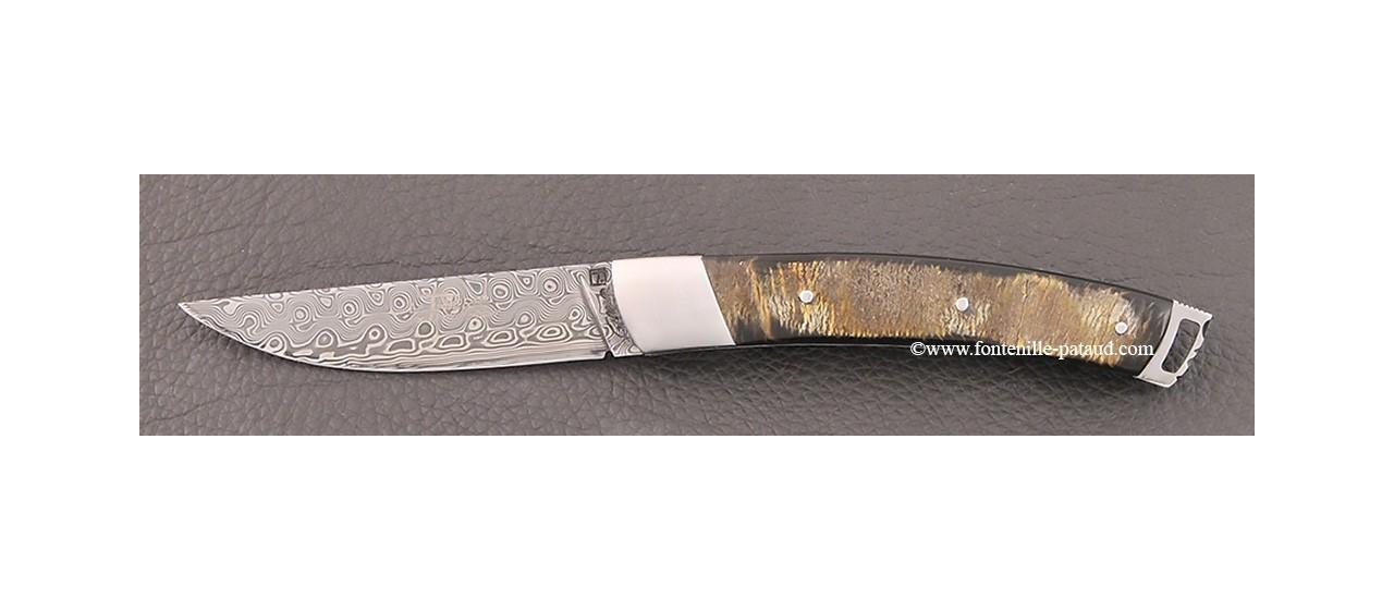 Couteau Le Thiers® Nature Damas Buffle brut