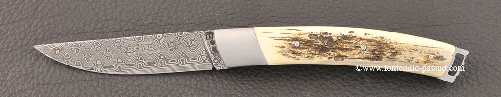 Le Thiers® Nature Damascus Fossilized Blue Mammoth Ivory knife