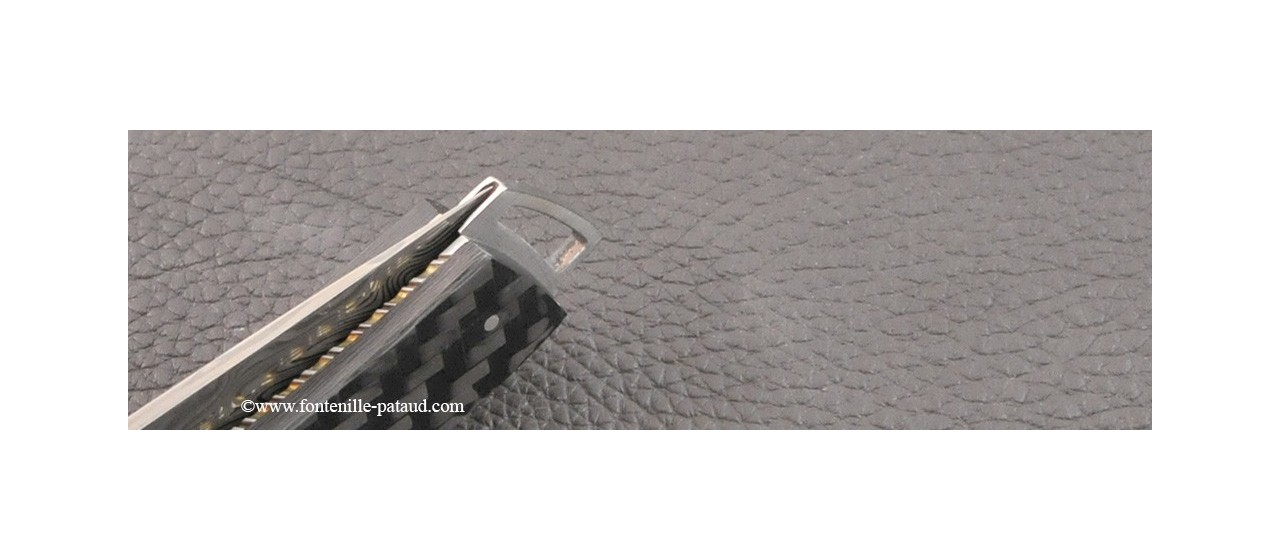 Le Thiers ® Gentleman knife Damascus Central bolster carbon fiber and delicate filework