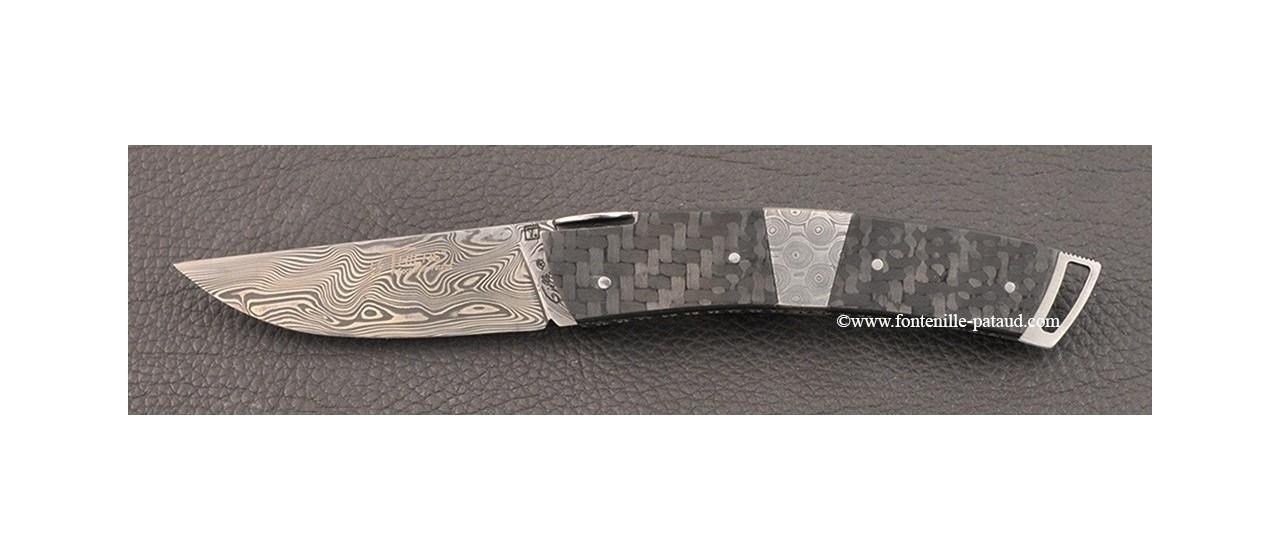 Couteau Le Thiers ® Gentleman Damas Mitre centrale Fibre de carbone et guillochage fin