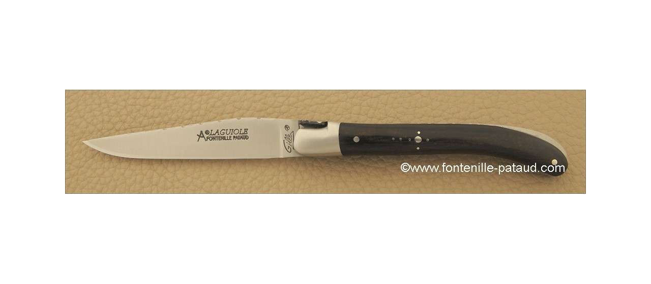Laguiole Knife Le Pocket Guilloche Range Real ebony