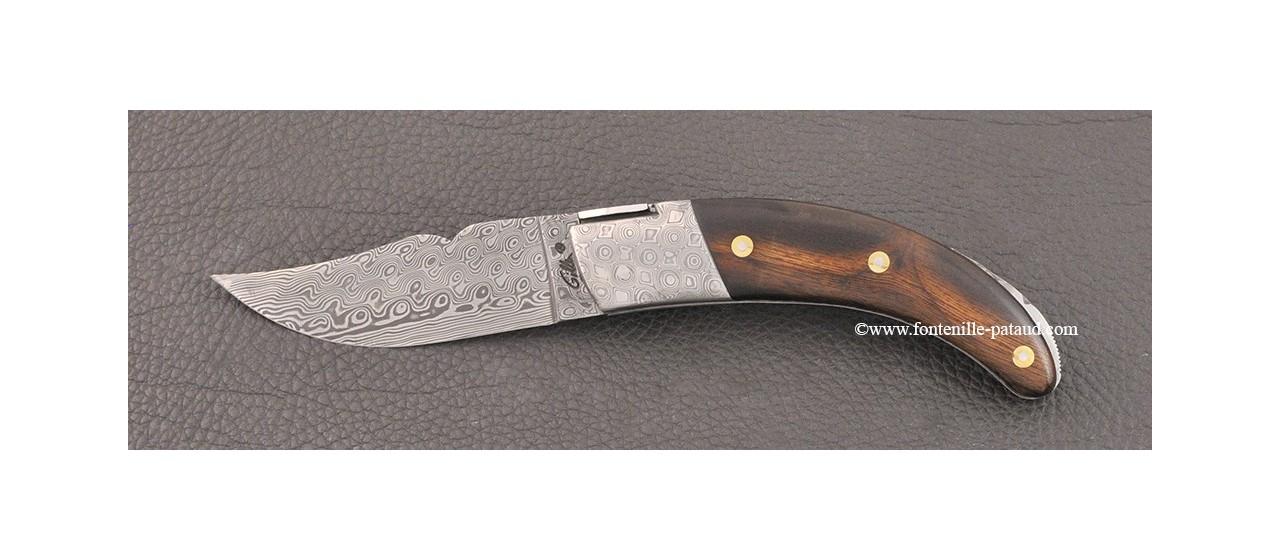 Corsican Rondinara Guilloché knife damascus range ironwood