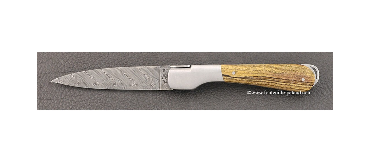 Couteau corse avec lame damas et manche en bocote