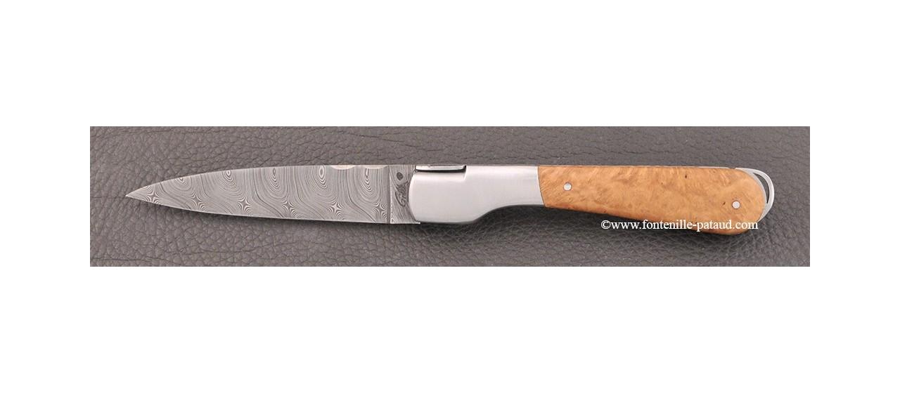 Couteau corse avec lame damas et manche en Racine de bruyère