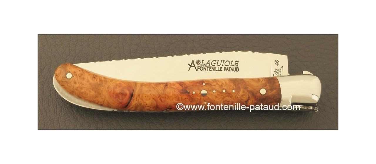 Couteau Laguiole Le Pocket Guilloche Loupe de peuplier stabilisée