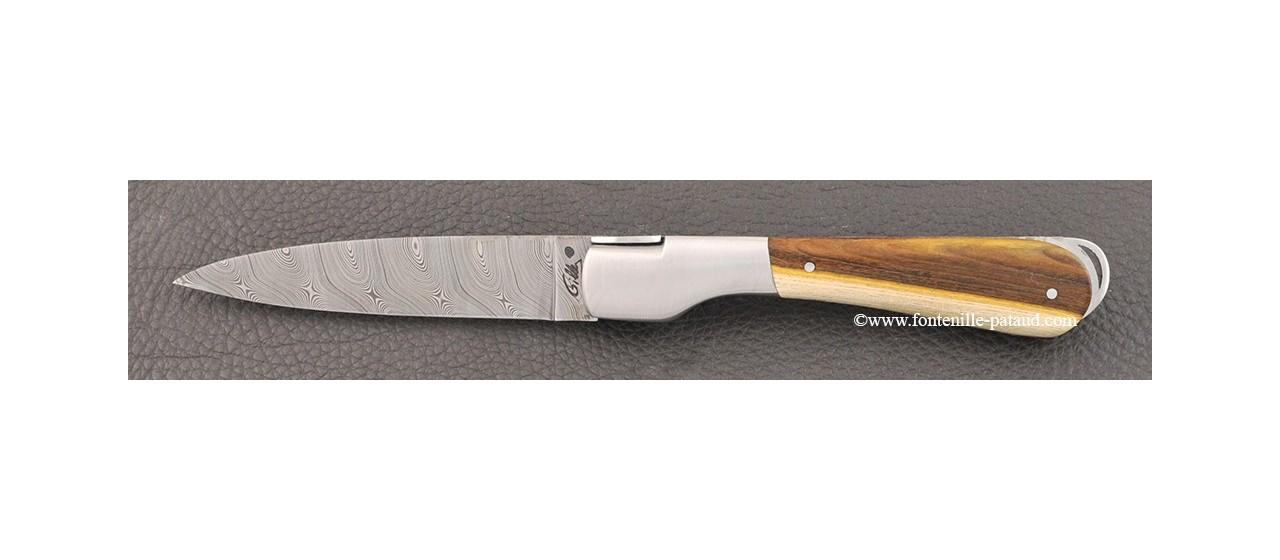 Couteau corse avec lame damas et manche en bois de pistachier