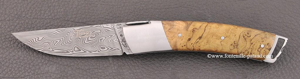Couteau Le Thiers ® Gentleman Damas Loupe de teck