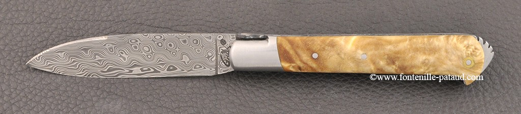 5 Coqs knife damascus range Stabilized poplar burl
