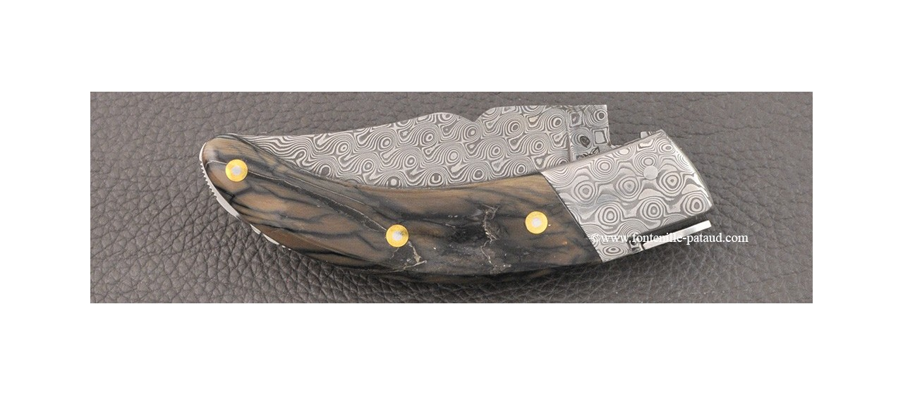 Corsican Rondinara Guilloché knife damascus range mammoth pulp