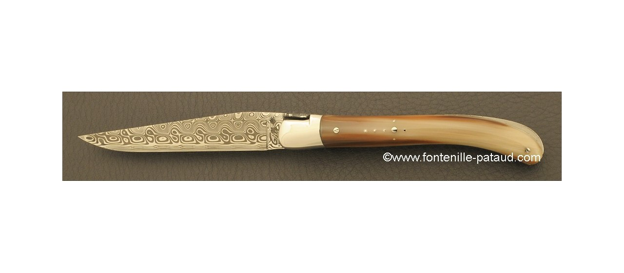 Laguiole Knife Le Pocket Damascus Range Horn tip