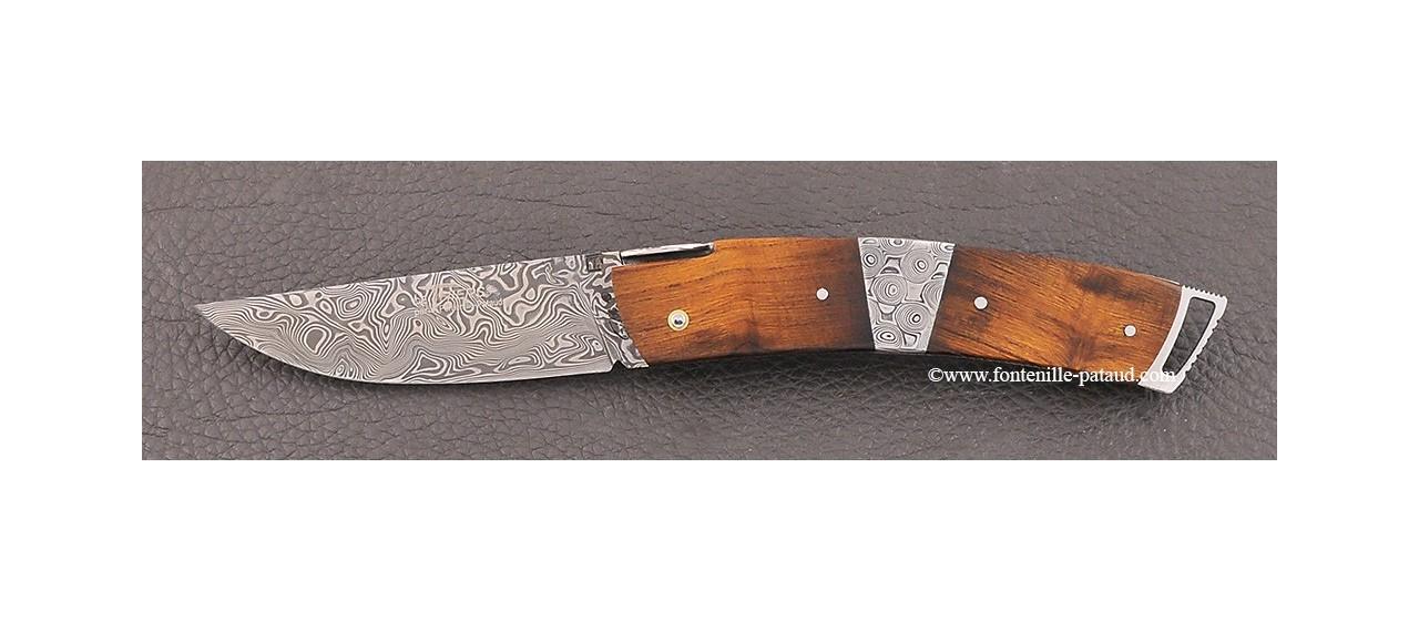 Couteau Le Thiers ® Gentleman Damas Mitre centrale Bois de fer guillochage fin