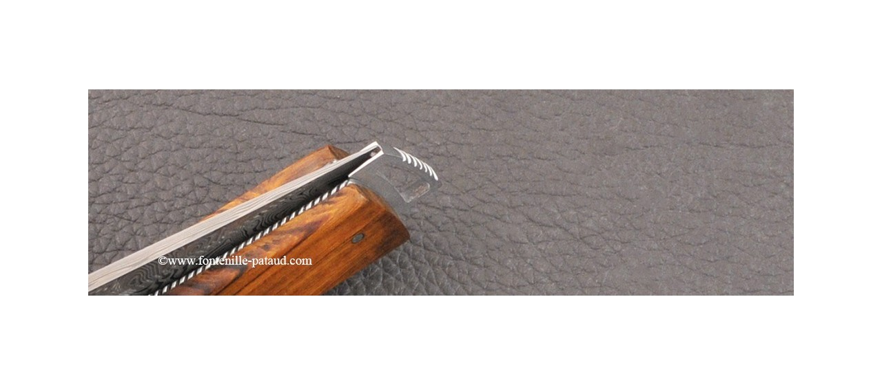 Le Thiers ® Gentleman knife Damascus Central bolster Ironwood delicate filework
