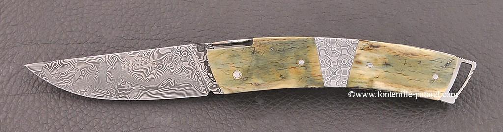 Couteau Le Thiers ® Gentleman Damas Mitre centrale Mammouth bleu guillochage fin