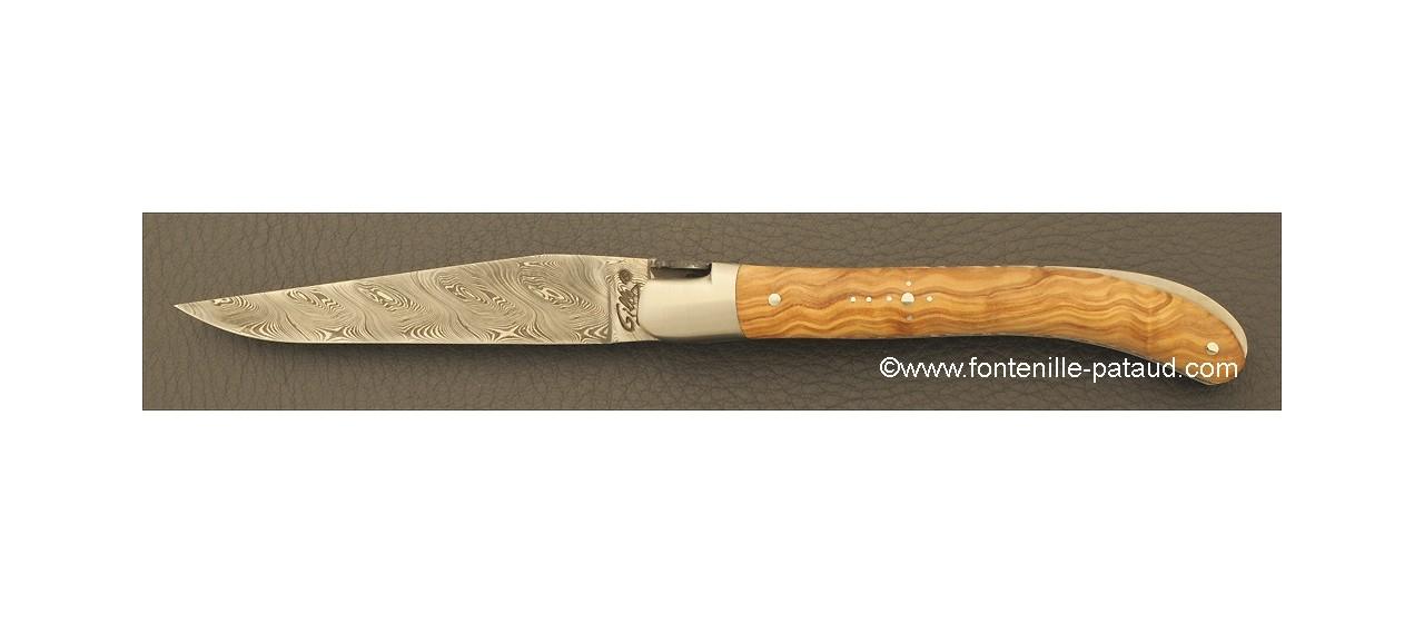 Laguiole Knife Le Pocket Damascus Range Olivewood