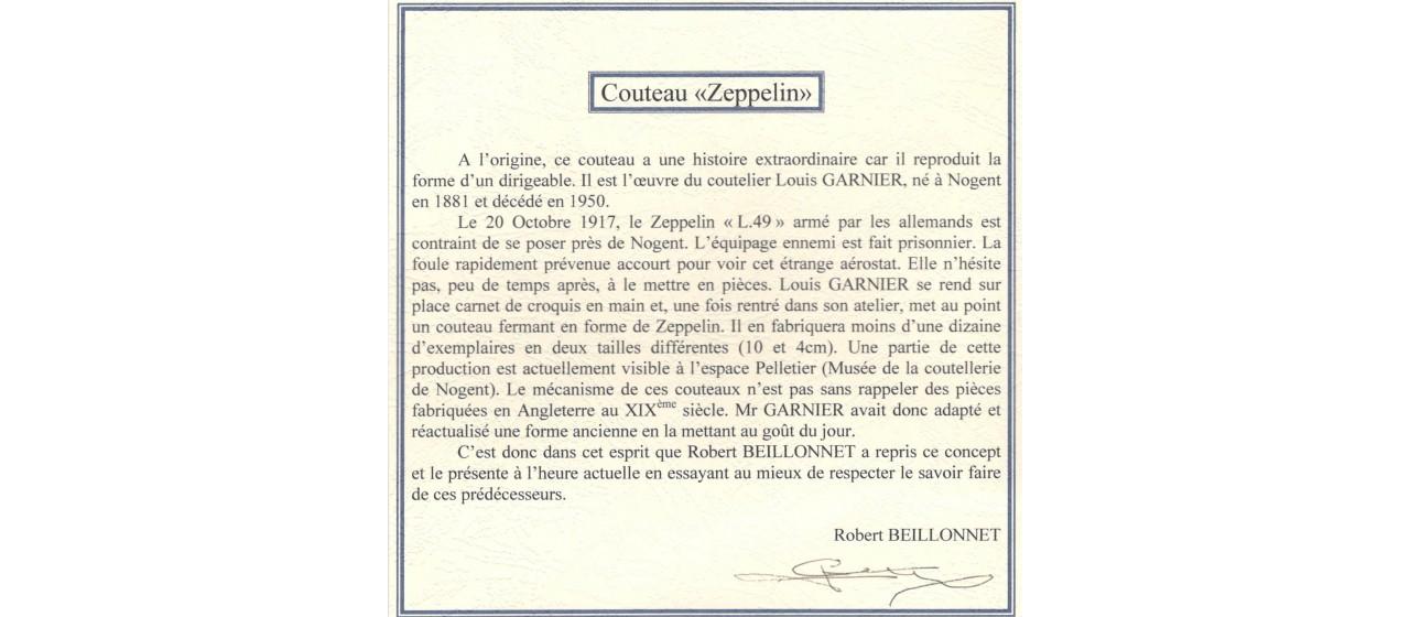 Zeppelin Ivoire de mammouth fossile, Robert Beillonnet