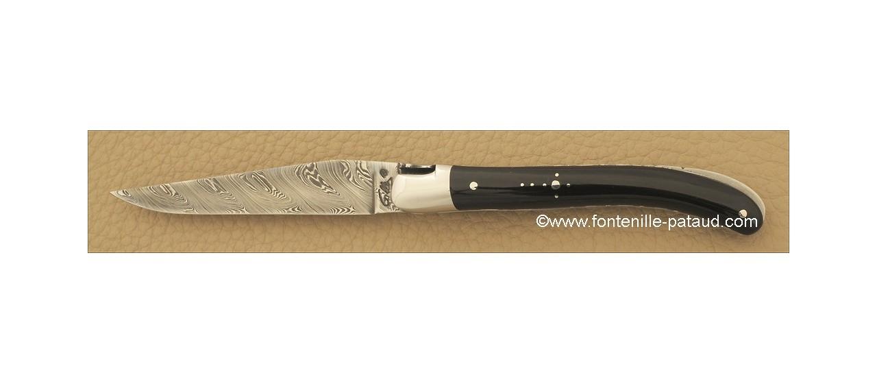 Couteau Laguiole Le Pocket Damas Pointe de corne noire
