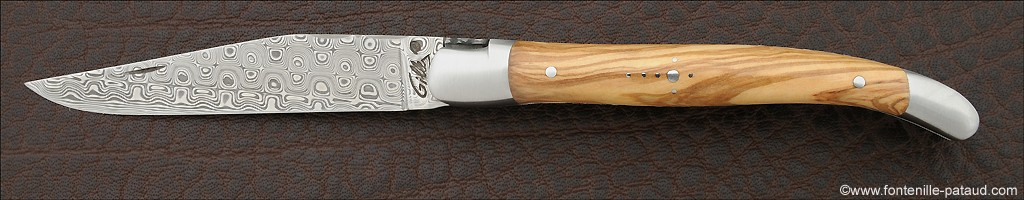 Laguiole Knife Traditional 11 cm Damascus Range Olivewood