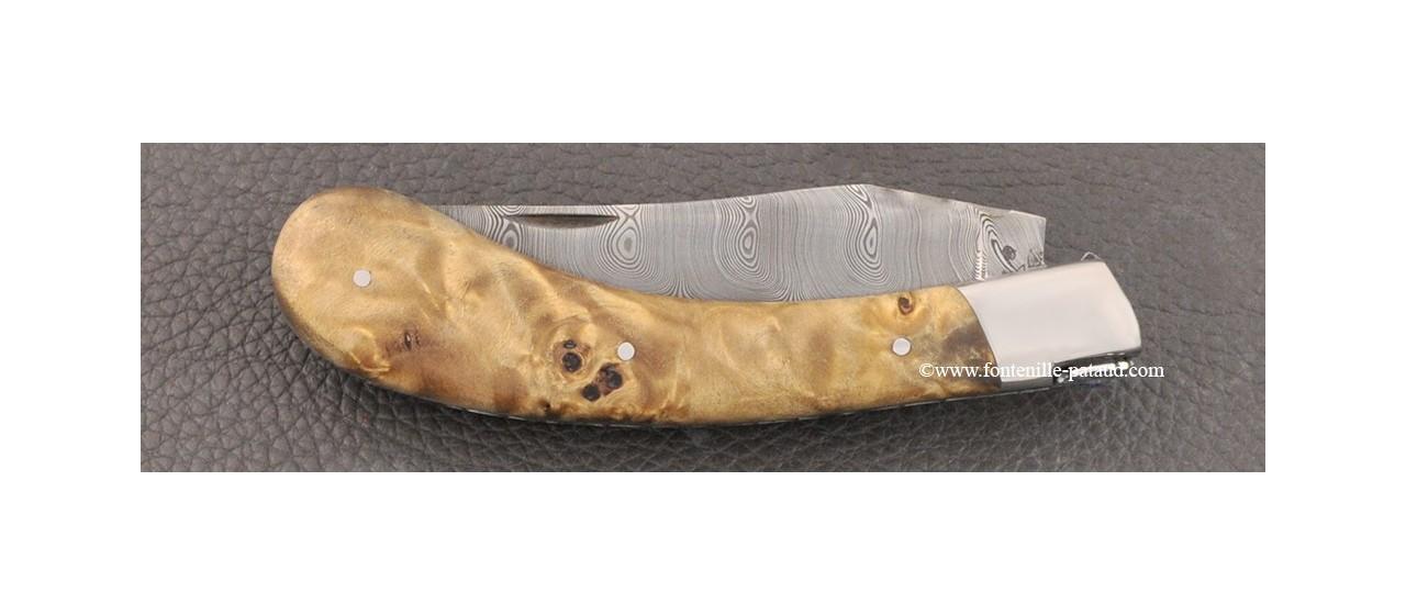 Couteau Le Capuchadou® 12 cm, Loupe de peuplier stabilisée & Damas torsadé