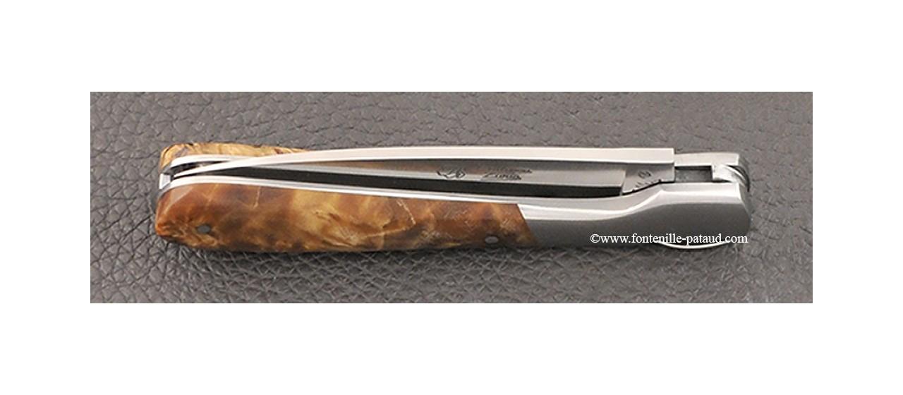 Corsican Pialincu knife Classic Range stabilized poplar burl