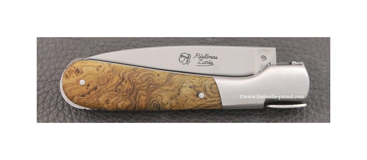 Couteau Pialincu Corse Classique Loupe de teck
