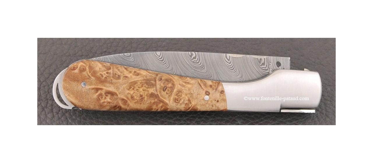 Corsican Sperone knife Damascus Range Mapke burl