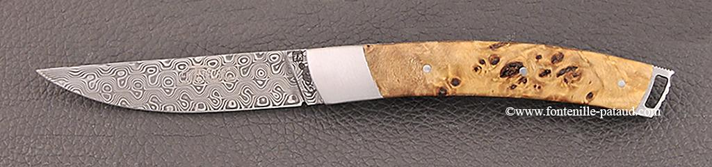 Couteau Le Thiers® Nature Damas Loupe de peuplier