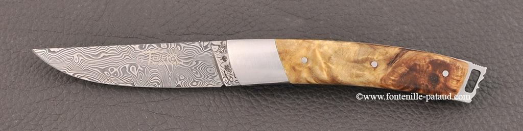 Le Thiers® Nature knife Damascus poplar burl handle