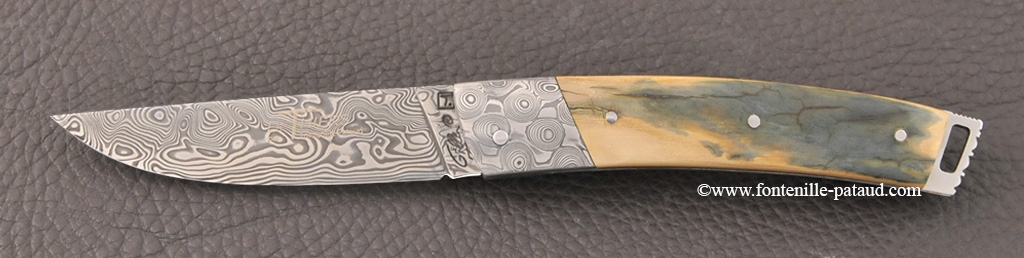 Le Thiers® Nature knife Damascus blue mammoth ivory