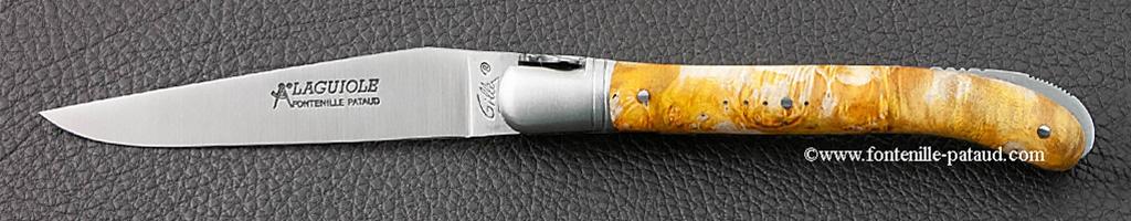 couteau laguiole de pique-nique en érable teinté or