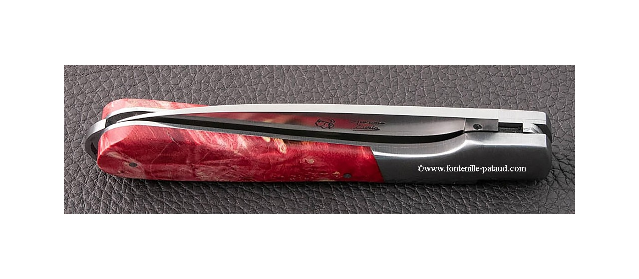 Corsican Sperone knife Classic Range Stabilized red Maple burl