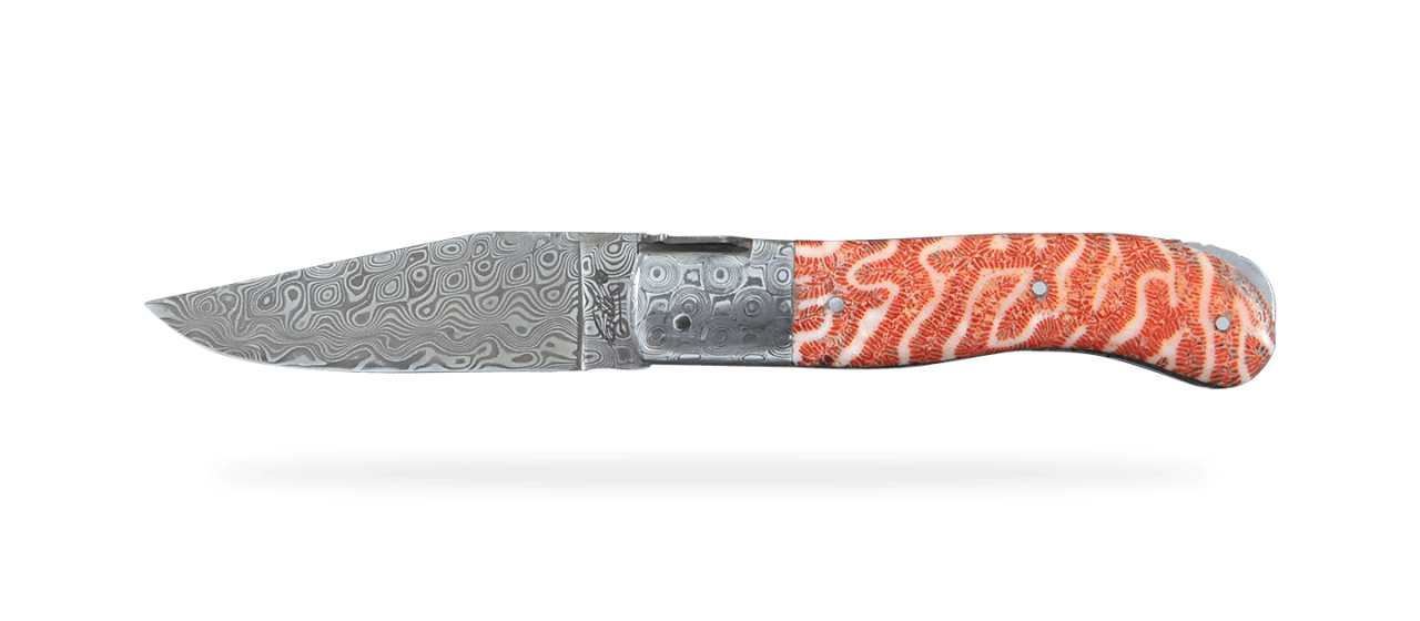 Laguiole Gentleman Damascus Range Red coral Delicate file work