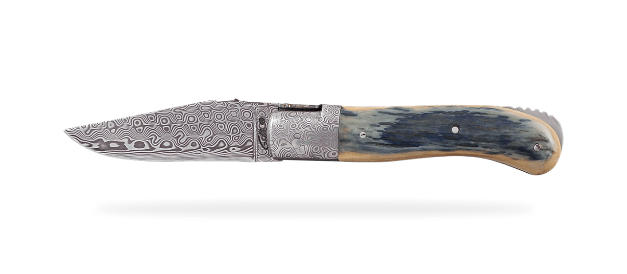 Laguiole Gentleman Damascus Range Blue fossilized Mammoth Ivory Delicate file work