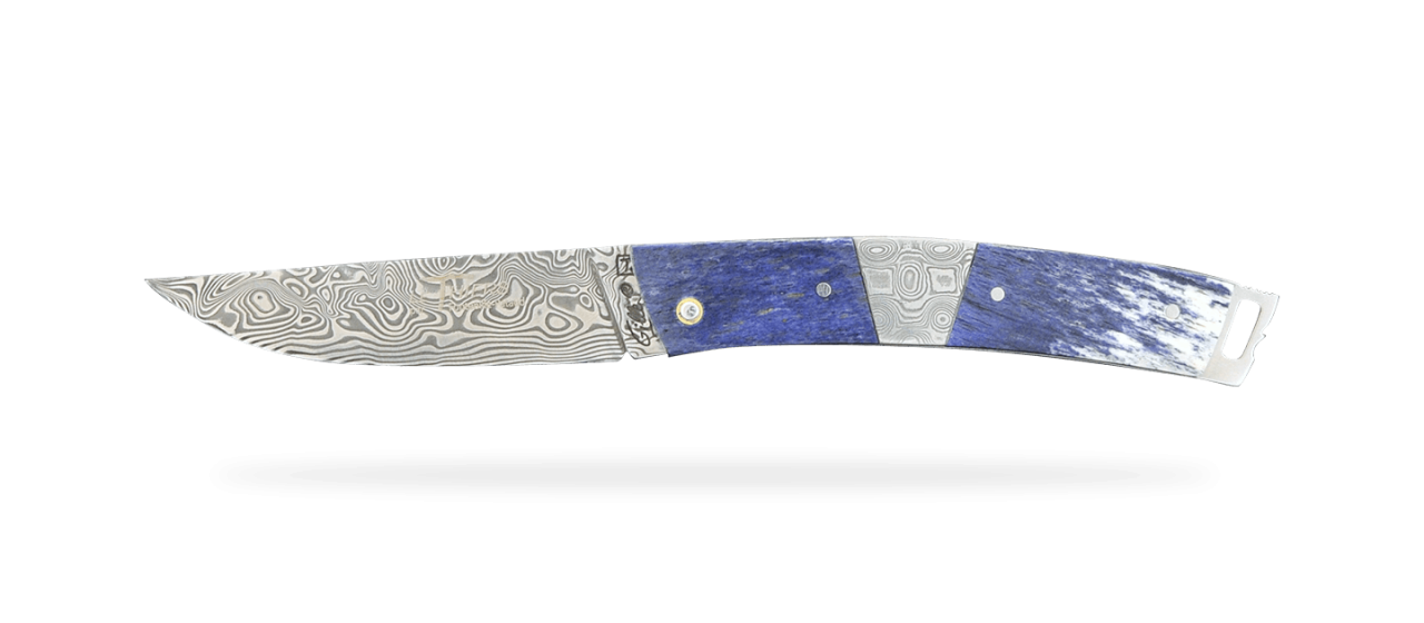 Le Thiers® Pocket Damascus Giraffe bone and central bolster