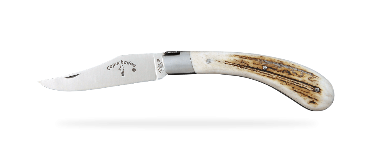 """""""Le Capuchadou®"""" 12 cm hand made knife, Real stag horn"""