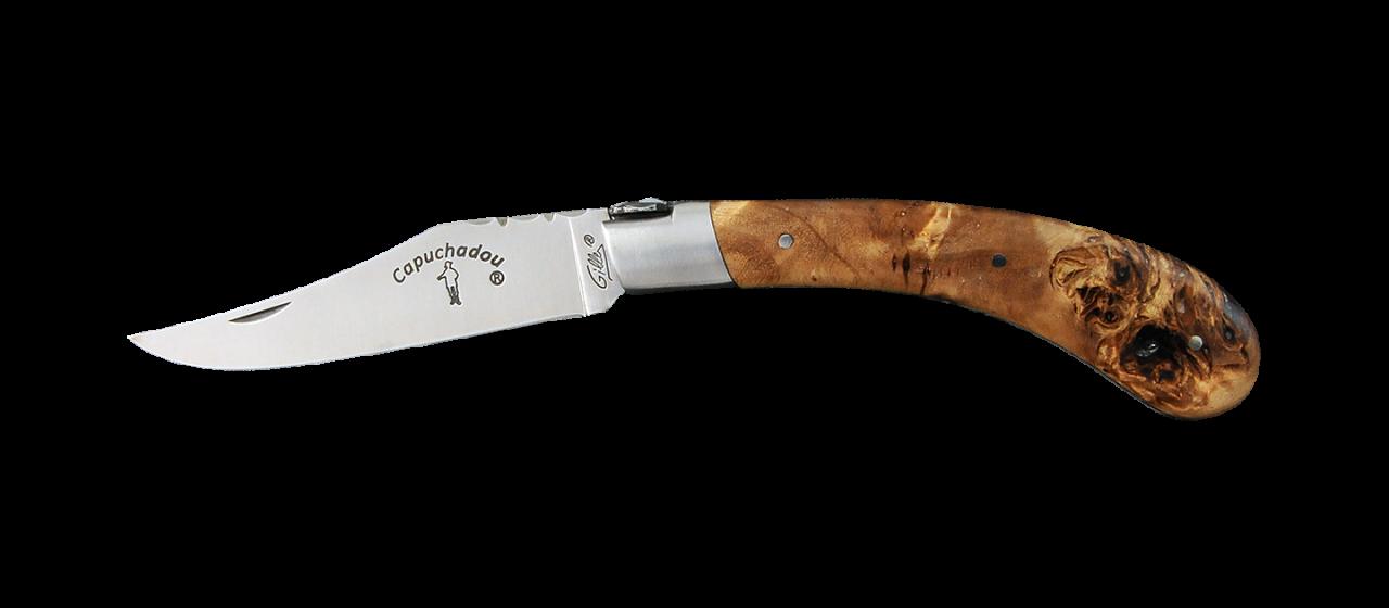 """Le Capuchadou®-Guilloché"" 12 cm hand made knife, Stabilized poplar burl"