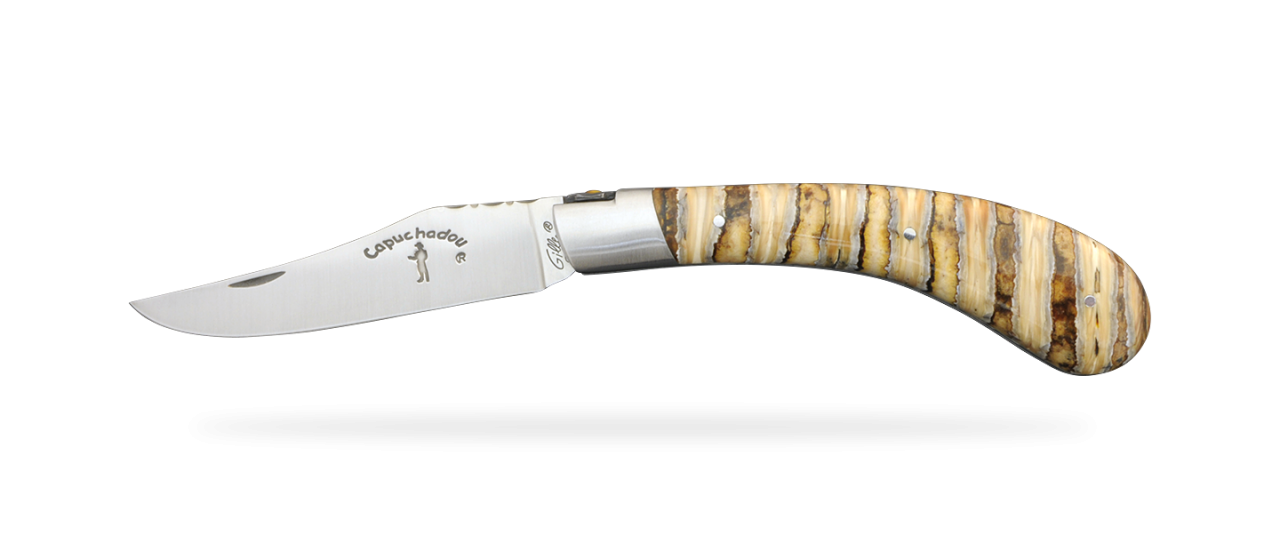 """Le Capuchadou®-Guilloché"" 12 cm hand made knife, molar tooth of mammoth"