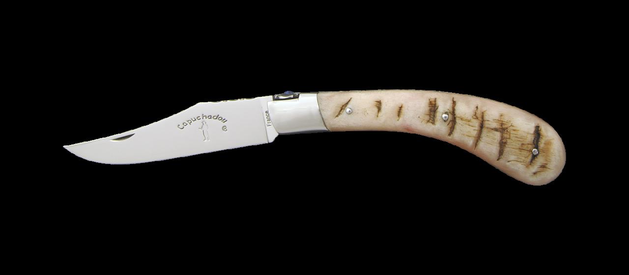 """Le Capuchadou®-Guilloché"" 12 cm hand made knife, ram's horn"