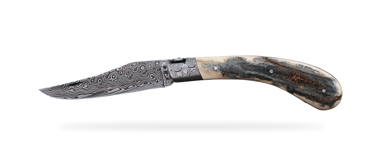 """Le Capuchadou®"" 12 cm hand made knife, blue mammoth & Damascus, delicate filework"