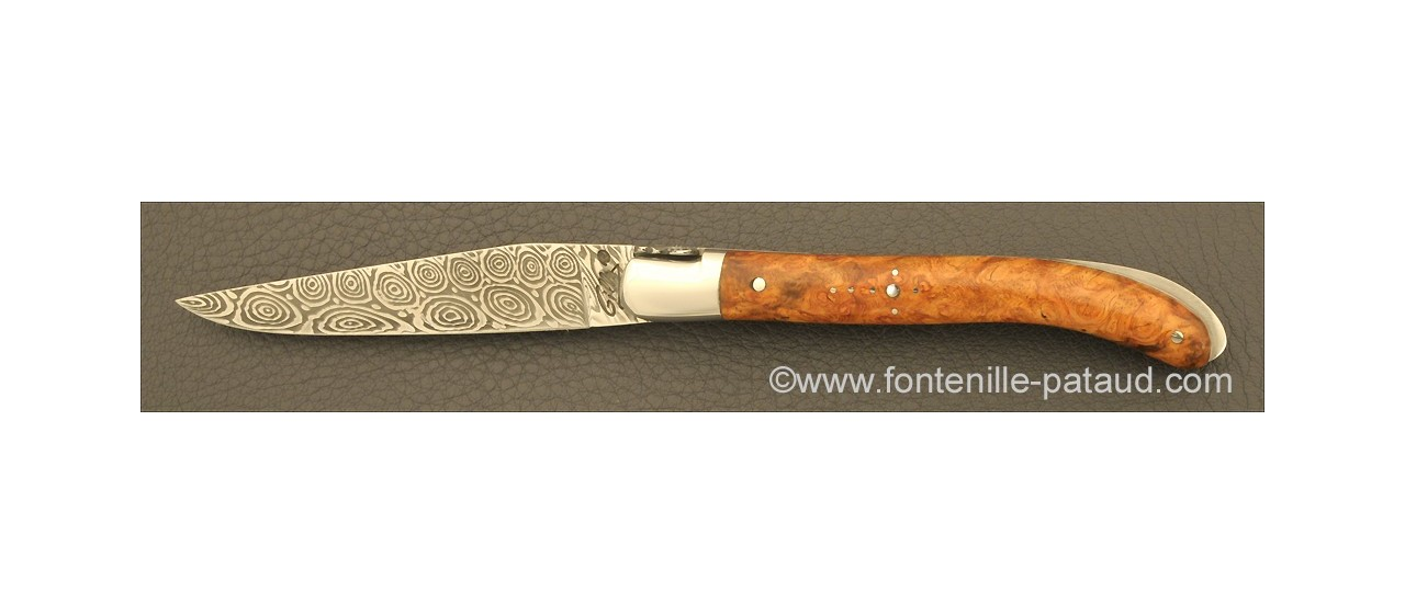 Couteau Laguiole XS Damas Loupe de peuplier stabilisée