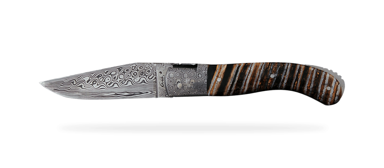 Laguiole Sport Damascus Range Brown Molar Tooth of Mammoth Delicate file work
