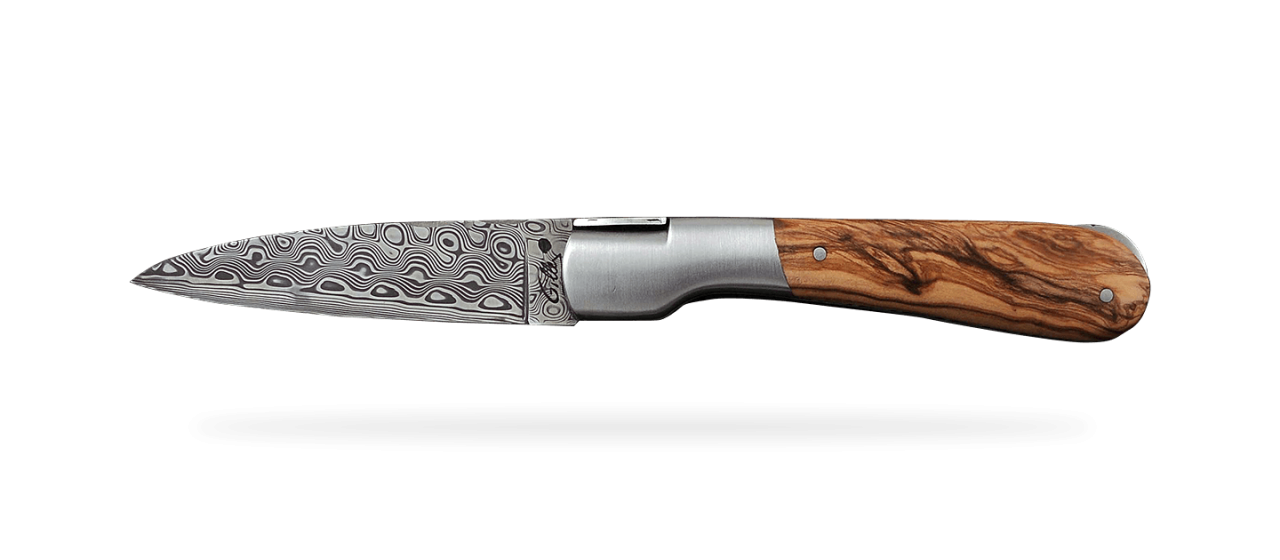 Corsican Pialincu Guilloché Damascus range Olivewood