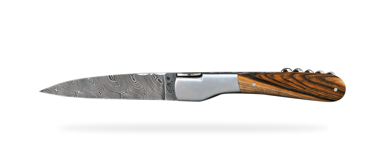 Corsican Vendetta Guilloché Damascus Range with corkscrew Pistachio wood