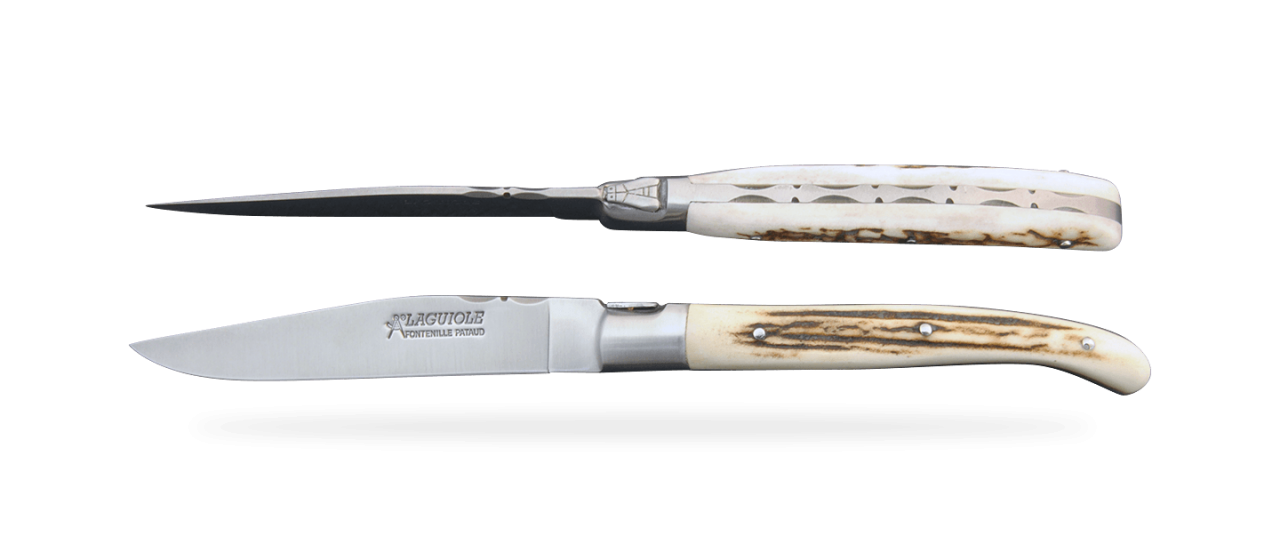 Set of 2 Laguiole Forged Steak Knives Stag