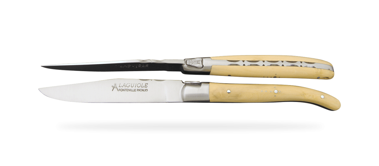 Set of 2 Laguiole Forged Steak Knives Boxwood