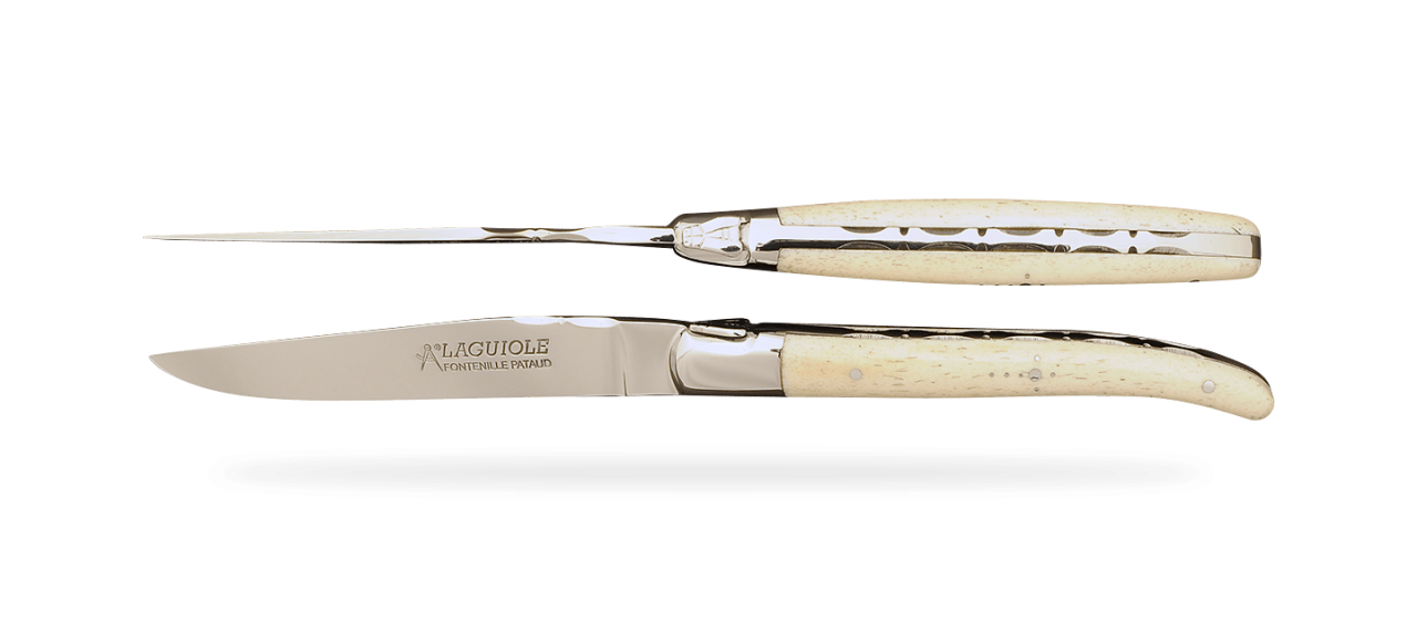 Set of 2 Laguiole Forged Steak Knives Real bone