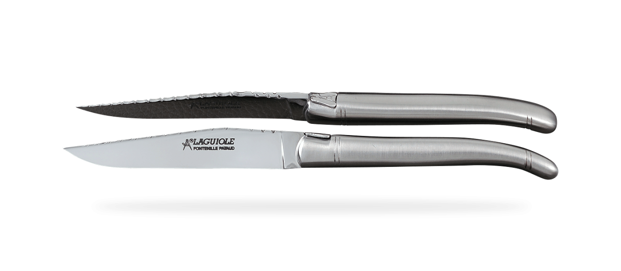 "Set of 6 Laguiole Steak Knives Stainless steel ""Guilloché"""