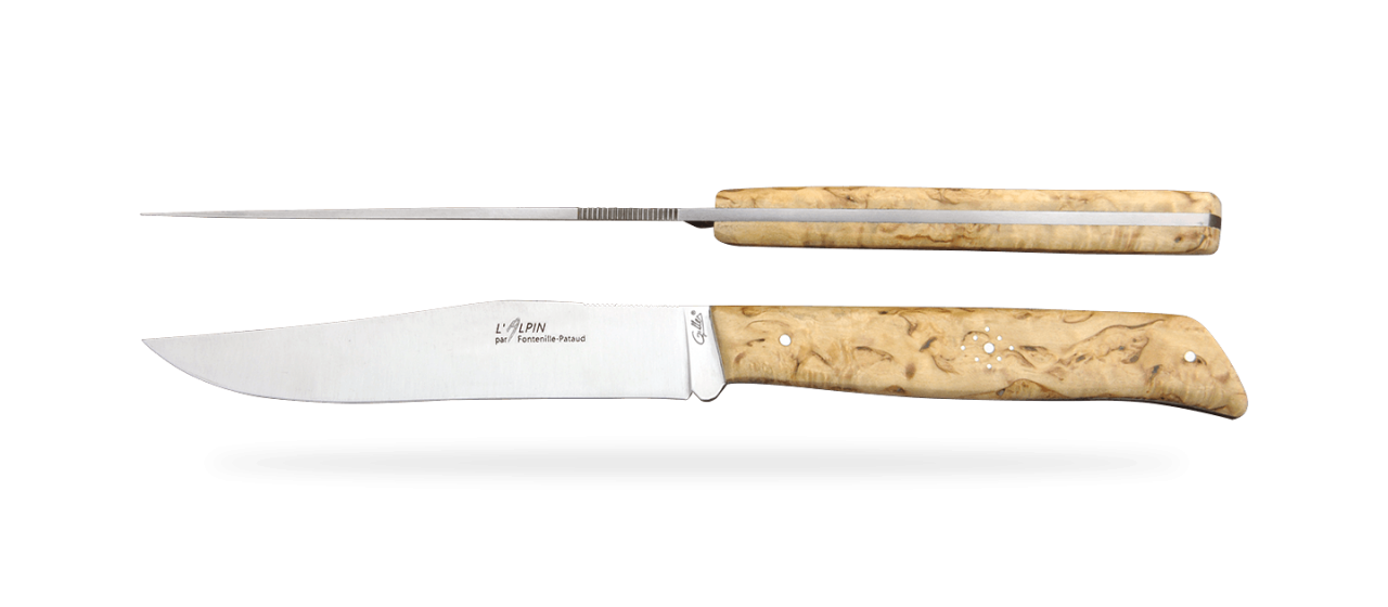 Set of 6 Alpin knives Curly birch