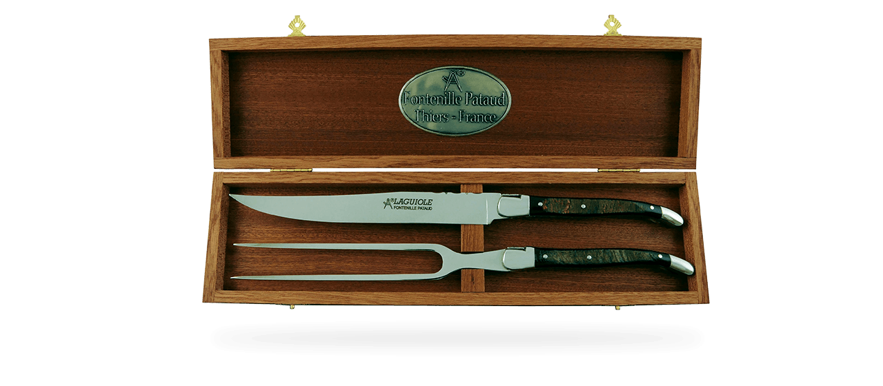 Laguiole Carving Set Buffalo bark
