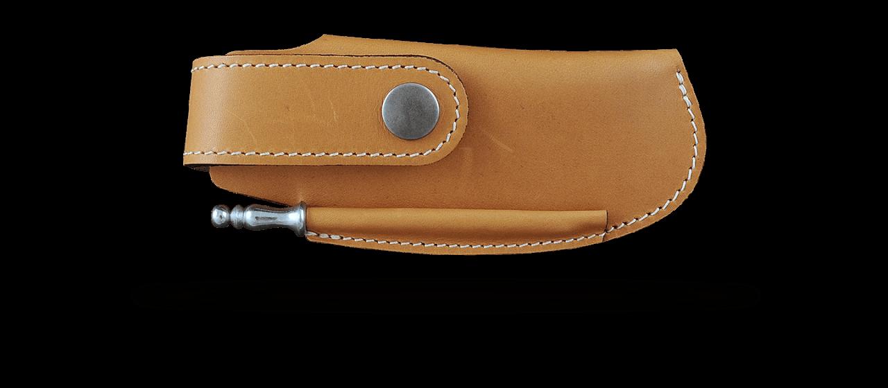Etui de ceinture en cuir fauve avec fusil pour Le Thiers® Gentleman, Capuchadou 12 cm, Sperone....